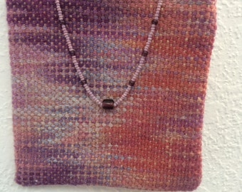 Hand-dyed, handwoven little bag in purple and rose - GB3