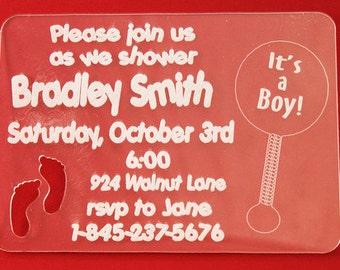 Baby Shower Invitation Handmade Custom Acrylic Invitations Engraved for any Occasion