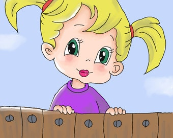 Instant download digital painting of a cute girl. Suitable for decoration of the nursery