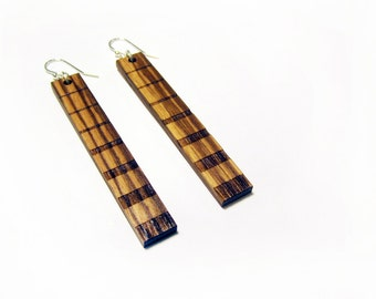 Wood Earring - Dangle Wooden Earring Pair - Zebra Wood - Lightweight Long Hanging Earring - 2.5 inches