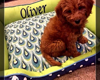 Personalized  Dog or Cat Beds   Name embroidery free   Durable Dog Bed   Washable Dog Bed    Choose your own fabric   Dog Bedding   Pet Bedd