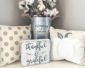 Thankful and grateful sign, Thankful sign, Fall sign, Grateful sign, Fall wood sign, Thanksgiving sign, Thanksgiving decor, Fall decor
