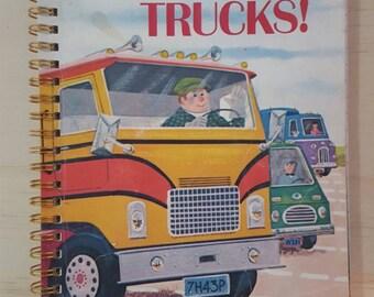 Golden Book Notebook - Vintage  Go, Trucks! - A5 Rebound Journal - 200 page