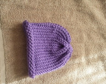 Purple thick winter girl hat