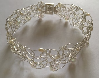 Fresh Water Pearl & Crystal Crochet Wire Bracelet