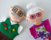 Grandparent dolls  - doll family, handmade dolls, dolls for children, felt dolls