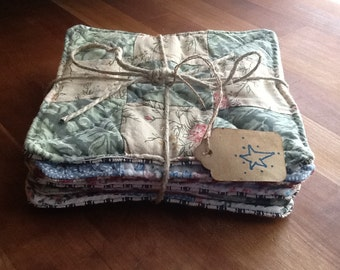 Set of 6 Hand Stitched Quilted Coasters