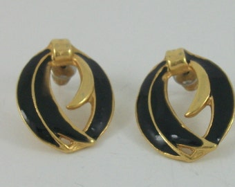 Vintage Goldtone & Enamel Earrings, Circa 1980, Black Enamel Earrings, For Pierced Ears, Vintage Gift,