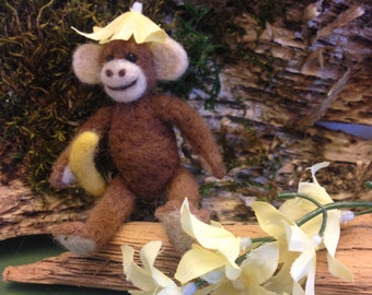 OOAK, Needle Felted Monkey  Fiber Artist Collectible, Miniature Monkey