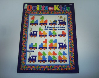 Quilts For Kids Booklet, 1997 Edition, Stain On Cover, 5 Quilts For Kids, Illustrations and Instructions, Ready Set Sew