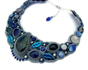 Blue and Grey Bead Embroidered Necklace, Choker Necklace, Wedding necklace