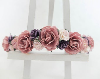 Mauve and dark purple flower crown - headpiece - floral hair wreath - hair accessories - garland