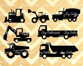 Construction vehicles Silhouette SVG, Truck SVG, Lorry SVG, Mining Truck Svg, Loader Svg, Dump Truck Svg, Eps, Dxf, Cricut, Cut files