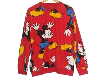 Vintage Mickey Mouse Sweater All Over Print 80s Crew Neck Disney Size Large
