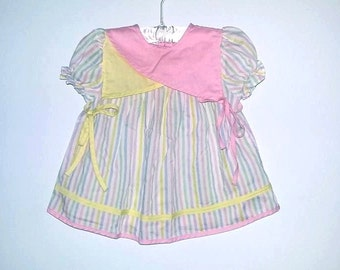 Vintage Baby Dress Stripped Pastel Yellow Pink Purple Blue Green Short Sleeve Size 12 months