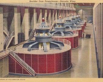 Hydroelectric Dam Collectible Postcard Vintage Paper Ephemera Collectible Boulder Dam Powerhouse 1940's
