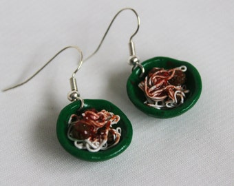 Handmade spaghetti and meatballs earrings