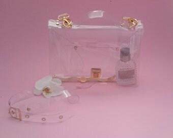 Crossbody bag Clear See Through Plastic PVC Vinyl Transparent Bag,Crossbody Bag,Messenger Bag,Shoulder Bag TSA NFL Security Purse Bag