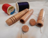Valentine gift, gift for her,  Wooden needle case hand turned from oak, tan to brown in color, pocket or purse sized