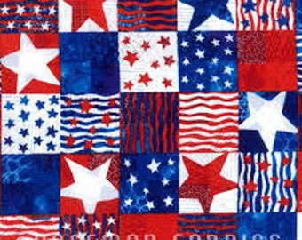 Hoffman -  Patriotic Palatte -  Jamie Fingal - N3426-Blue - Stars - Blue - Red - Patriotic - Americana - Quilts of Valor - Stripes - White