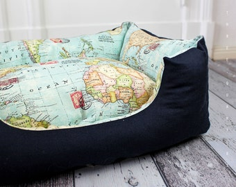 Dog bed, cat bed, travel, world map, travel, world travel, travel, road trip, dark blue, dog, cat, roost, holiday, world, pillows