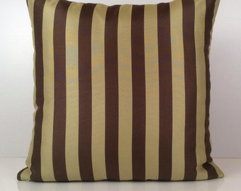 Lime Green and Brown Pillow, Striped Pillow, Throw Pillow Cover, Decorative Pillow Cover, Cushion Cover, Accent Pillow, Cotton Blend, Home