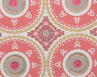 DESIGNER ETHNIC Chic SUZANI Medallions Fabric 10 Yards Coral Gold Multi
