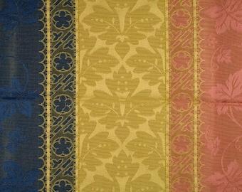 SCALAMANDRE COLONY VERONA Rigato Stripe Damask Fabric 5 Yards Rose Blue Gold