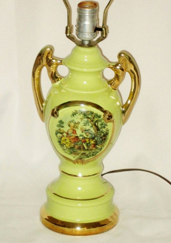 Vintage Lamp 1940s 10505 Rare Lime Green Victorian