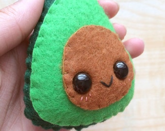 Handmade Kawaii Cute Avocado Plushie Keychain