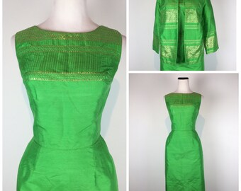 Vintage 60s dress / with matching jacket bolero / 1960s dress / wiggle dress / with lurex / dress set / 60s set / C579