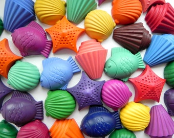 Seashell & Fish Party Favours | Novelty Crayons | Starfish | Under the Sea theme | Beach Party | Summer party | Wedding favours | Kids Party