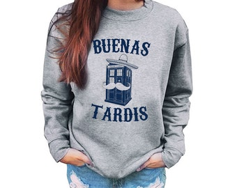 Doctor Who Inspired Buenas Tardis Adult Unisex Sweatshirt