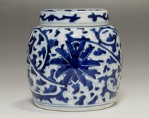 Chinese Blue and White Porcelain Tea Caddy for Kung Fu Tea #481