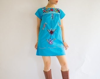 Summer Sale Vintage Mexican (Oaxacan) Blue Mini Dress, Size-S