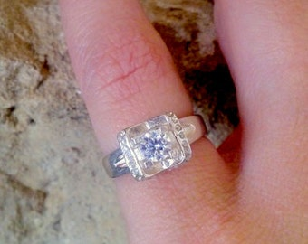 SALE!  Halo Ring,Engagement Ring, Man Made Diamond Ring, Wedding Ring, Promise Ring, Bridal Jewelry, Sterling Silver