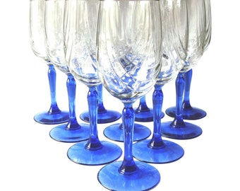 Vintage Lenox Cobalt Stemmed Wine Glasses - Set of 10