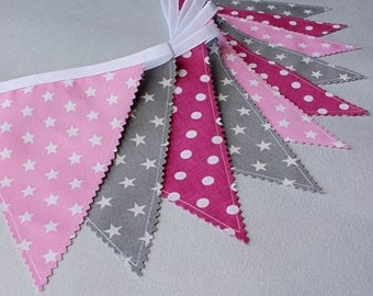 Girl's Bunting Banner, Pennant Fabric Garland, Pink Grey Flags Garland, Nursery Baby Girl Bunting , Photography Prop