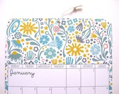 "2017 Wall Calendar A4 8.5 x 11"" Scandinavian Folk Floral Retro Illustrations Monthly Planner Gift Custom Stationary Back to School Children"