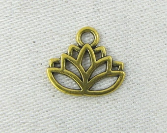 Set of (12) Gold Lotus Flower Charms 12 per package FLO004GL