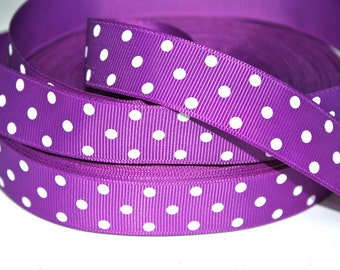 7/8 inch WHITE POLKA DOTS on  purple    - Printed Grosgrain Ribbon