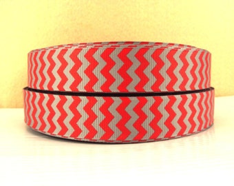 7/8 inch RED and GREY ( Gray ) CHEVRON - Printed Grosgrain Ribbon for Hair Bow