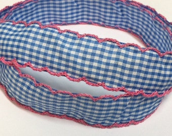1 inch - Light Blue Plaid Fabric Ribbon with Pink Moonstitch Border for Hair Bow