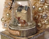 Snow Globe Glass Christmas Cloche with Glitter House Bottlebrush Trees and Deer Winter Wonderland Cottage and Shabby Chic  Christmas Decor