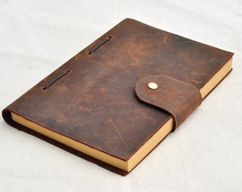 Dark Brown Leather Journal, Refillable Sketchbook ,Monogram Blank books, - Personalized journals with initials,Free stamp