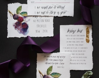 Custom Water color, wedding invitations, with matching envelope