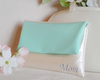 Mint green clutch -personalized purse - leather monogram clutch - ivory wedding handbag - bridesmaid gift - color block fold over clutch