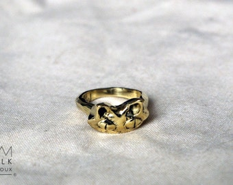 Ring 'cat' size 52 brass 1/2