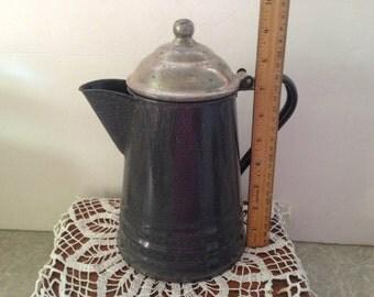 Vintage gray enamelware / graniteware coffee pot with hinged lid. #628