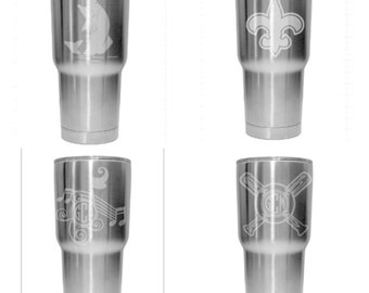 Etched Stainless Steel Tumbler 30oz  Monogram Monogramed Personalized